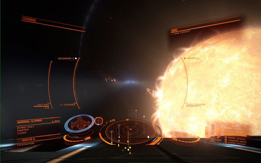 Screen capture from Elite: Dangerous of an Imperial Clipper ship close to the I Bootis star.
